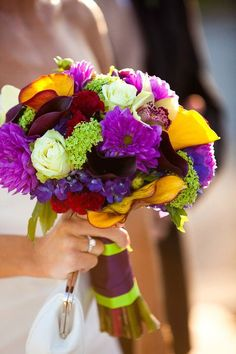 This bouquet is a riot of colours and shapes. Will your flowers be this bright?