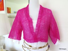 Hot Pink Silk Mohair Cropped Hand Knit Jacket Sweater