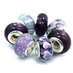 #6: 7 Beads  Shades of Purple murano glass beads fits Pandora Troll Chamilia Carlo Biagi Zable.