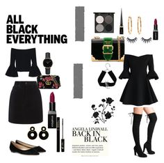 """""""ALL BLACK"""" by rayanalqattan ❤ liked on Polyvore featuring Prada, Chicwish, Gorgeous Cosmetics, Christian Louboutin, Gucci, Yves Saint Laurent, Alexis, rag & bone, Jimmy Choo and ROSEFIELD"""