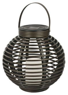 Paradise GL29353BR Solar Flickering LED Round Rattan Basket Outdoor Light Brown