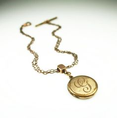 Victorian Locket Watch Fob Gold Filled Engraved by zephyrvintage, $39.00