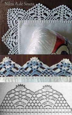 "Lindo bico [   ""Bolde orchrt um \""Barrados\"". I like the all-white on top best (unfortunately it does not come with a chart), but the chart given for the blue and white in the middle is similar enough to be taken as a general guide."",   ""Crochet lace edgings by Nilza Souza, from her facebook photo album \""Barrados\"". I… More"",   ""fajne rk."" ] #<br/> # #Facebook #Photo,<br/> # #Crochet #Lace #Edging,<br/> # #Crochet #Stitches,<br/> # #Lace #Edgings,<br/> # #Crochet #Redondo,<br/> # #Photo…"