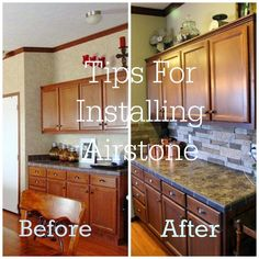 7 Tips for installing Airstone before and after pic Kitchen Redo, New Kitchen, Kitchen Remodel, Kitchen Ideas, Kitchen Mat, Kitchen Stuff, Kitchen Designs, Kitchen Cabinets, Airstone Backsplash