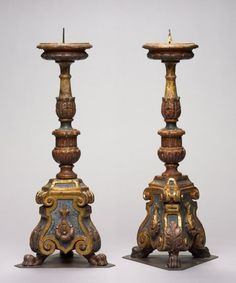 Late 1400s Italian candlesticks made of carved and gilded wood (H 19 1/2 in.) - Cleveland Museum of Art 1915.573