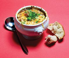 """The secret to La Palette's peerless French onion soup is chef Brook Kavanagh's slow-roasted beef bone broth """"French onion soup is a classic for good rea"""