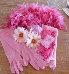 Pink Gloves, Flowers, Lace, Feathers, etc.