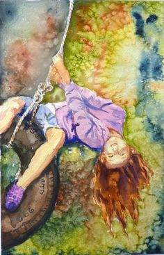Items similar to Swing into Fall Watercolor Print by Maure Bausch on Etsy Swing Painting, Painting For Kids, Painting & Drawing, Watercolor Print, Watercolor Paintings, Watercolours, Autumn Painting, Art Themes, Street Art