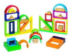 Wooden Rainbow Blocks from - Create colourful, unusual constructions with skill and imagination. Family Kids, Gifts For Family, Holiday Fun, Holiday Gifts, Baby Toys, Kids Toys, Blocks For Toddlers, Rainbow Blocks, Stacking Blocks