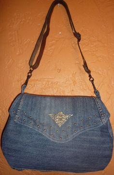sac besace jeans rabat clouté doré anse cuir