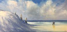 """""""Walking on Three Pole Beach """" by Mike Barr. Paintings for Sale. Australian People, Australian Artists, Winter Walk, Buy Art Online, Great Team, Beach Walk, Walk On, Paintings For Sale, Beautiful Artwork"""