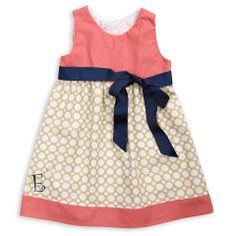 Coral Khaki Dot Sash Dress