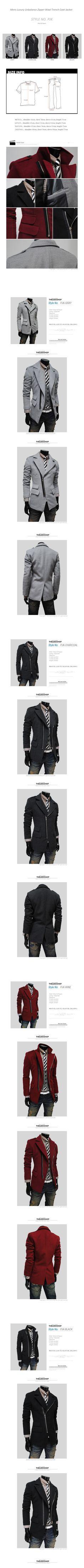 (PJK) Mens Casual Unbalance Zipper Wool Coat Jacket