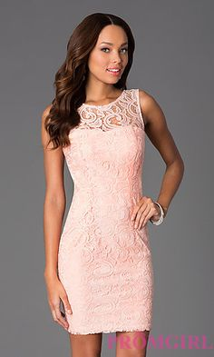 Short Sleeveless Scoop Neck Lace Dress at PromGirl.com