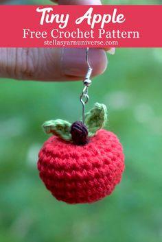 Crochet Apple – Free Mini Amigurumi Pattern – Stella's Yarn Universe Tiny Amigurumi Apple Crochet Apple, Crochet Food, Crochet Gifts, Cute Crochet, Crochet Teacher Gifts, Crochet Fruit, Crochet Keychain Pattern, Crochet Patterns Amigurumi, Crochet Dolls