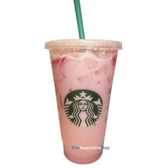 REVIEW Starbucks Pink Drink ❤ liked on Polyvore featuring food and drink, drinks and filler