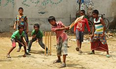 Street cricketers keep their eyes on the ball in Dhaka, where their youthful enthusiasm marked Bangl