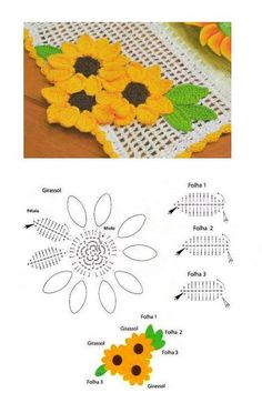 Sunflower runner crochet with chart. may be one can use the flower-leaf motif as a coaster ? pretty pineapple crochet motif, no pattern, graph only by gayle Stylowa kolekcja inspiracji z kategorii Hobby sloneczniki na Stylowi. This Pin was discovered by y Crochet Puff Flower, Crochet Sunflower, Sunflower Pattern, Knitted Flowers, Crochet Flower Patterns, Crochet Designs, Pineapple Crochet, Flower Diy, Flower Making