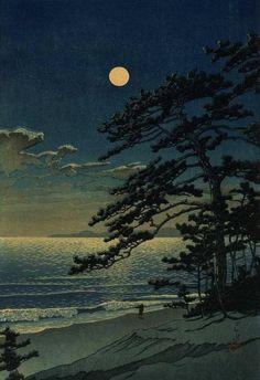 Spring Moon at Ninomiya Beach