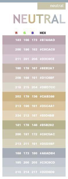 Neutral color schemes, color combinations, color palettes for print (CMYK) and Web (RGB + HTML) Colour Schemes, Color Patterns, Color Combinations, Color Palate, Neutral Colour Palette, Neutral Tones, Color Tones, Colour Palettes, Rgb Palette