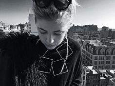 Black and white sunday mood - modular square necklace.  Alberta Vita contemporary jewellery designer.