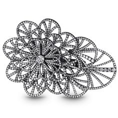 Full Pave Flower Cocktail Ring
