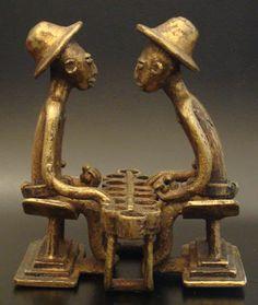 Tribal Art Treasures Metal Figures Brass Men Playing Asante/Ashanti Bronze Figure/Gold Weight SOLD