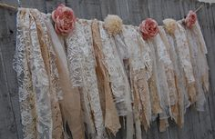 Rustic Lace Garland, Wedding Garland, Shabby Chic, Boho Decor, Lace, Ivory, Pink, Burlap, Lace Banner, Country, Tattered, Photo Backdrop