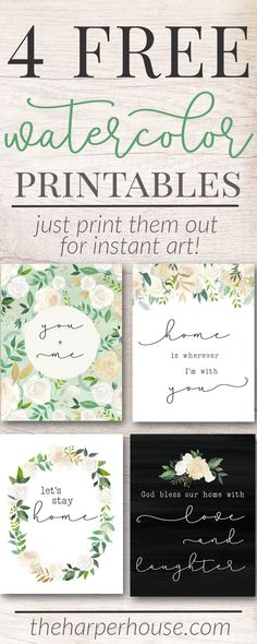 Free Printable Art Prints | watercolor flower prints | instant art | free digital prints | #freeprintable #homedecor #gallerywall #art #farmhousestyle