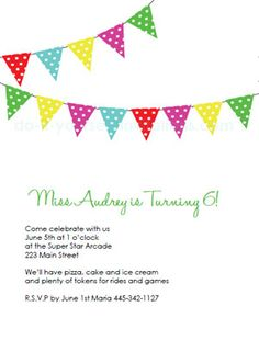 free printable birthday party invitations - clasic bunting banner invite.