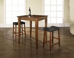 Baxton Studio Leeds Brown Wood Collapsible Pub Table Set | Pub table ...