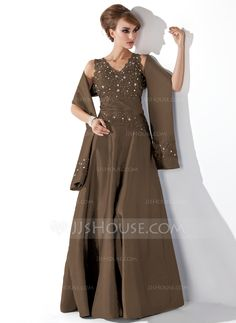 A-Line/Princess V-neck Floor-Length Taffeta Mother of the Bride Dress With Lace Beading Sequins (008013955) - JJsHouse