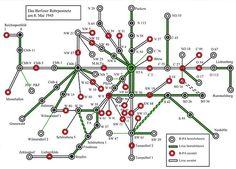 Schematische Darstellung der Zerstoerungen am Liniennetz der Berliner Rohrpost am 8.Mai 1945
