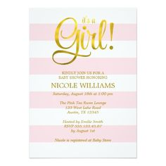Pink and Faux Gold Stripes Girl Baby Shower Card