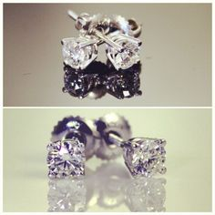 Custom Diamond Earrings - butterfly backing.