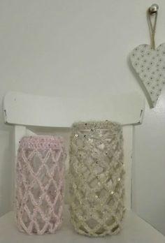 Jarra de Lãem Croché Materiais Reutilizados para Decoração Várias cores / com missangas