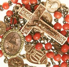 1895 ANTIQUE VALUABLE CORAL GEM BEADS ROSARY with 18K GOLD MEDALS & CRUCIFIX