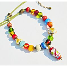 Bohemian Lampwork necklace, Colorful Glass bead necklace, Lampwork... ($65) ❤ liked on Polyvore featuring jewelry, necklaces, tri color jewelry, multi color necklace, glass bead necklaces, gypsy necklace and colorful necklaces