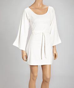 Ivory Bell-Sleeve Empire-Waist Dress