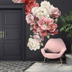 Wild Flower Wall Stickers add floral vintage fun to your wall! Just peel and stick our watercolor peonies to a wall in your nursery, kids room or home office.