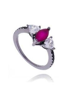 comprar anel da moda com banho de rodio negro e zirconias rubi semi joias finas