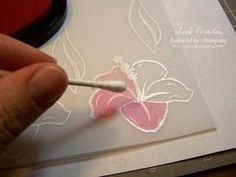 Escelente tutorial stamp your images onto your vellum paper and heat emboss them with white powder. After they have cooled choose your ink colors and color your image with a q-tip Card Making Tips, Card Making Tutorials, Card Making Techniques, Making Ideas, Flower Stamp, Flower Cards, Vellum Papier, Tarjetas Diy, Embossing Techniques