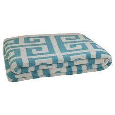 Turquoise Greek Key Throw in Cerulean from the Happy Habitat event at Joss and…