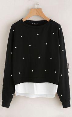 Pearl Beading 2 In 1 Sweatshirt