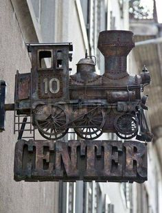 Old locomotive sign. Antique Signs, Vintage Signs, Blade Sign, Storefront Signs, Shop Signage, Pub Signs, Business Signs, Store Signs, Advertising Signs