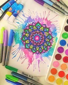 Splash of colour Thank you for all the over whelming support on my video I'm definitely so excited to do another video so keep your eyes out, hopefully the editing will be a bit better Hope your all having an amazing day❤️ ♡ {#mandala#colourful#zentangle#watercolours#paint#sharpies#cool#art#arty#awesome#man#dala#vibrant#106kzentangle}