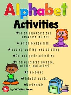 Alphabet Activities Match uppercase and lowercase lettersLetter recognition (cut…