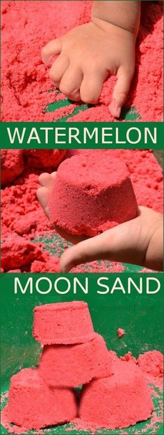 Summer Moon Sand recipe- so fun! This sand is mold-able but crumbly and produces the best sandcastles. It feels & smells amazing & It is really easy to make at home, too.