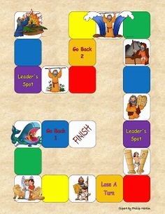 Journey Through The Bible Game. Kids roll the die and move forward. If they land on a picture, they must identify the story depicted in the picture to be allowed to remain. Otherwise they must return to where they were before rolling and try again next turn.