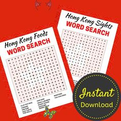 Hong Kong Foods Word Search Printable, Travel Activity Sheets, Word Search Puzzle For Adults and Teens, Printable, Instant Download Hong Kong Foods Word Search Printable, Travel Activity Sheets, Word Search Puzzle For Adults and Teens, Printable, Instant Download<br> Printable Crossword Puzzles, Food Words, Packing List For Travel, Travel Organization, Activity Sheets, Travel Activities, Travel Planner, Letter Size, Sight Words